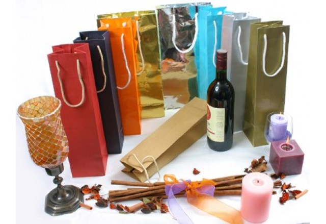 שקיות קרטון ידית חבל טבעי לבקבוק / שני בקבוקי יין