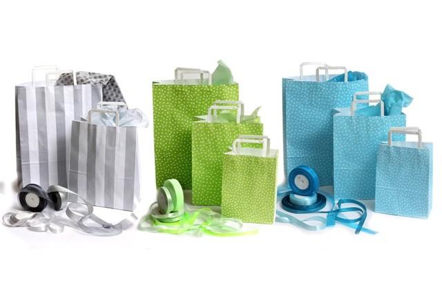 חדש - שקיות נשיאה ידית נייר כרומו - דוגמא