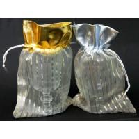 שקיות אורגנזה יוקרתיות פסים + גימור מטאלי עליון זהב / כסף