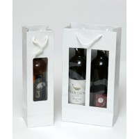 שקיות קרטון יוקרתי לבקבוק יין / זוגי עם חלון + למינציה