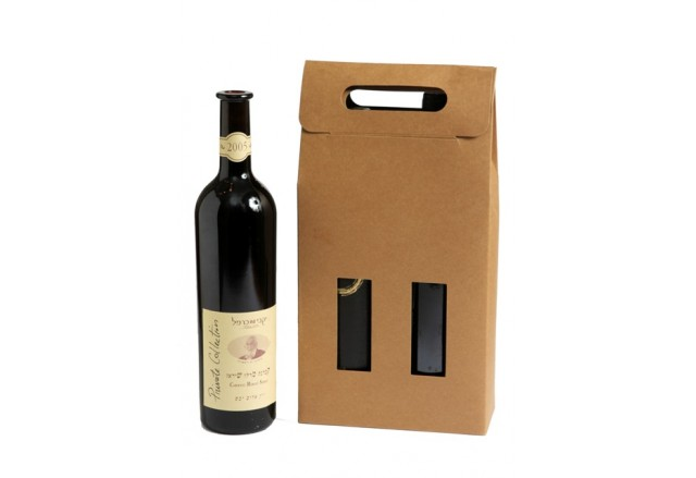 מארז נשיאה קרטון טבעי לזוג בקבוקי יין / שמן זית